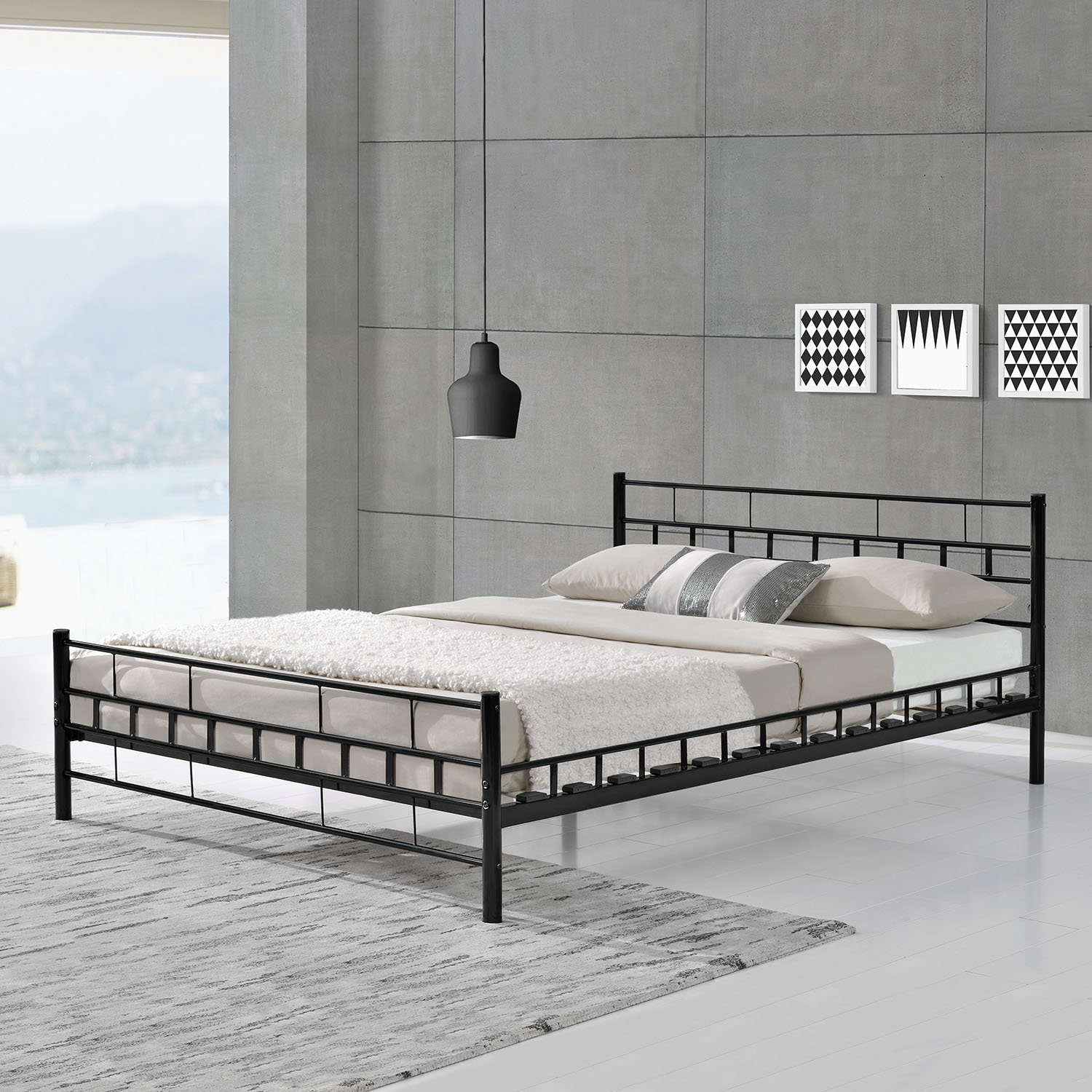 metallbett malta lattenrost bettgestell doppelbett bettrahmen metall bett ebay. Black Bedroom Furniture Sets. Home Design Ideas
