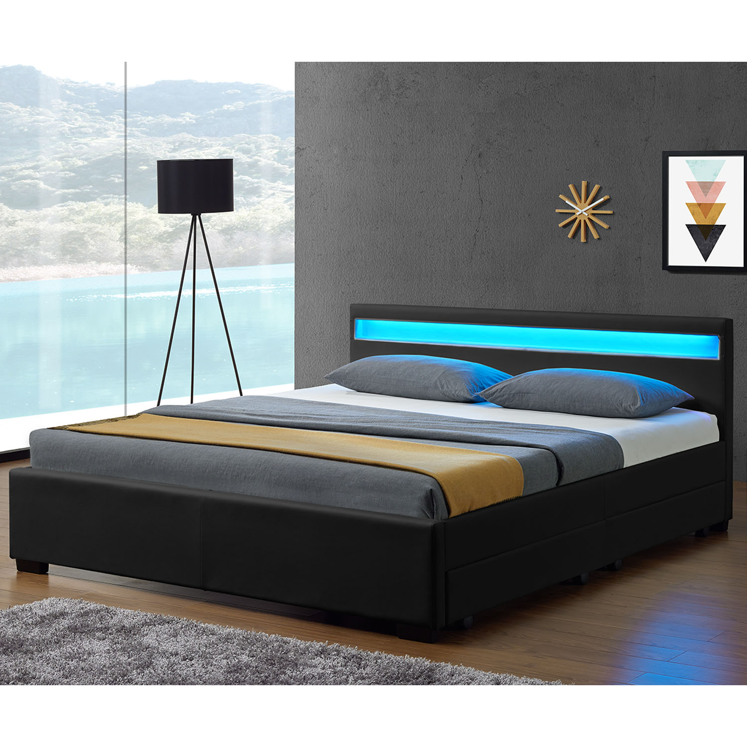 led polsterbett kunstlederbett doppelbett lederbett mit. Black Bedroom Furniture Sets. Home Design Ideas