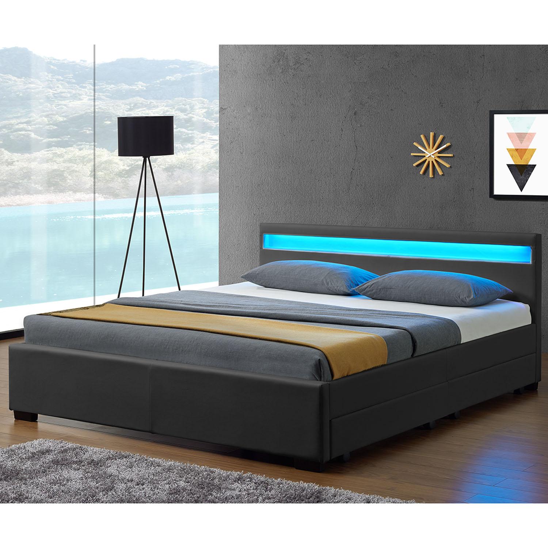 led polsterbett kunstlederbett doppelbett lederbett mit. Black Bedroom Furniture Sets. Home Design Ideas