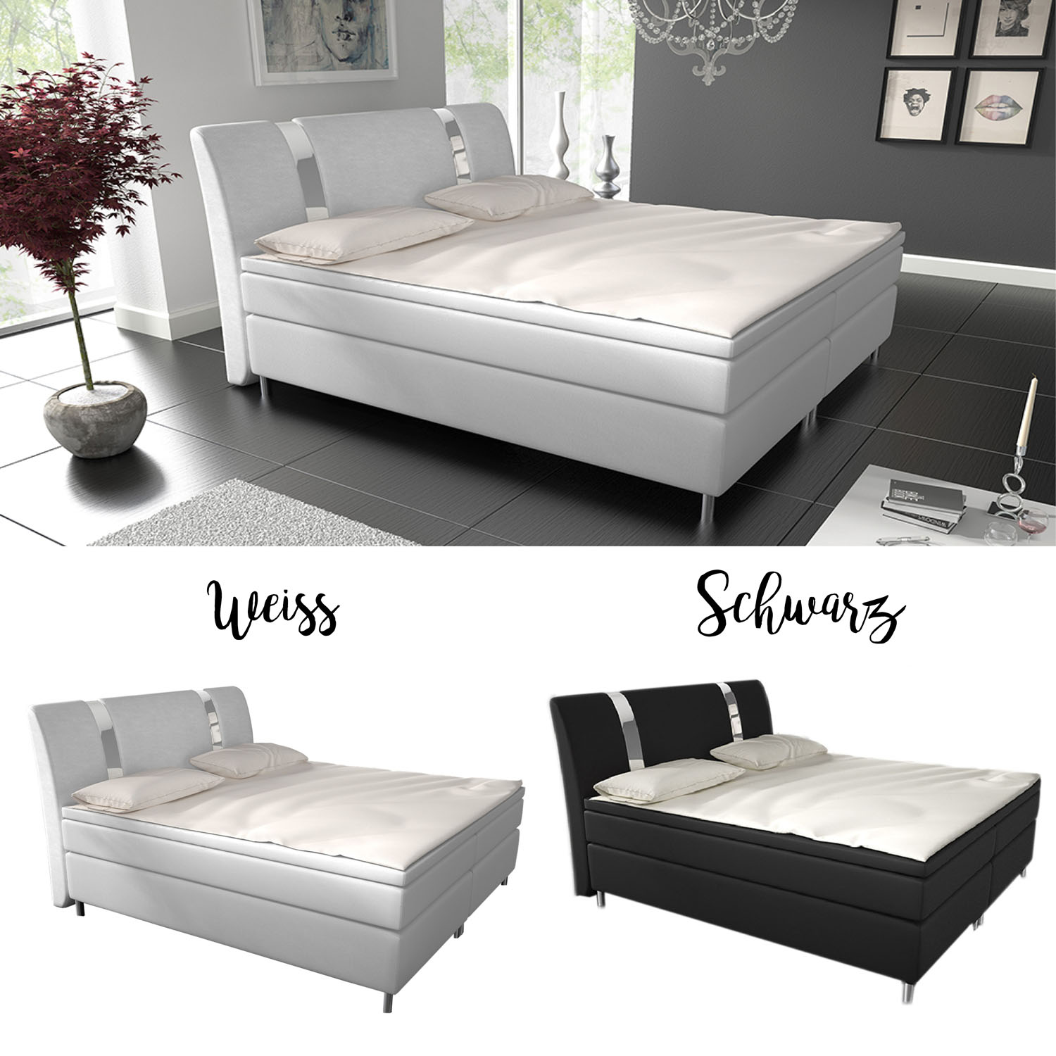 boxspringbett hotelbett led designerbett doppelbett ehebett topper federkern neu ebay. Black Bedroom Furniture Sets. Home Design Ideas
