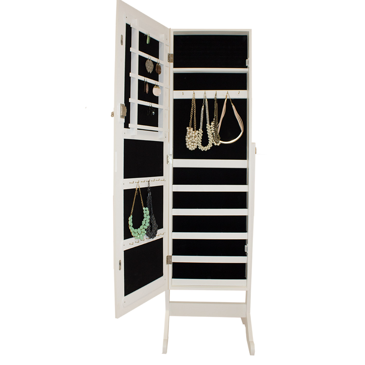 schmuckschrank spiegelschrank schmuckkommode standspiegel schmuck weiss neu ebay. Black Bedroom Furniture Sets. Home Design Ideas