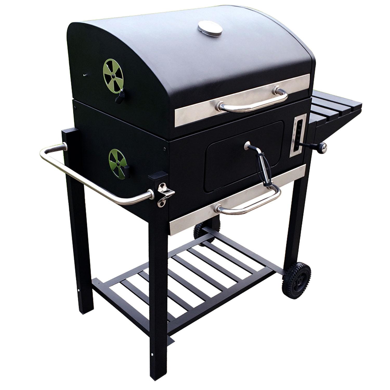 holzkohlegrill bbq smoker grill grillwagen barbecue holzkohle gartengrill ablage ebay. Black Bedroom Furniture Sets. Home Design Ideas