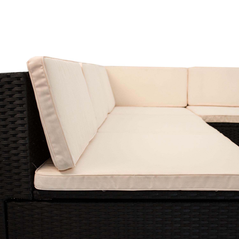 polyrattan tisch gartenm bel lounge rattan poly sitzgruppe sitzgarnitur schwarz ebay. Black Bedroom Furniture Sets. Home Design Ideas
