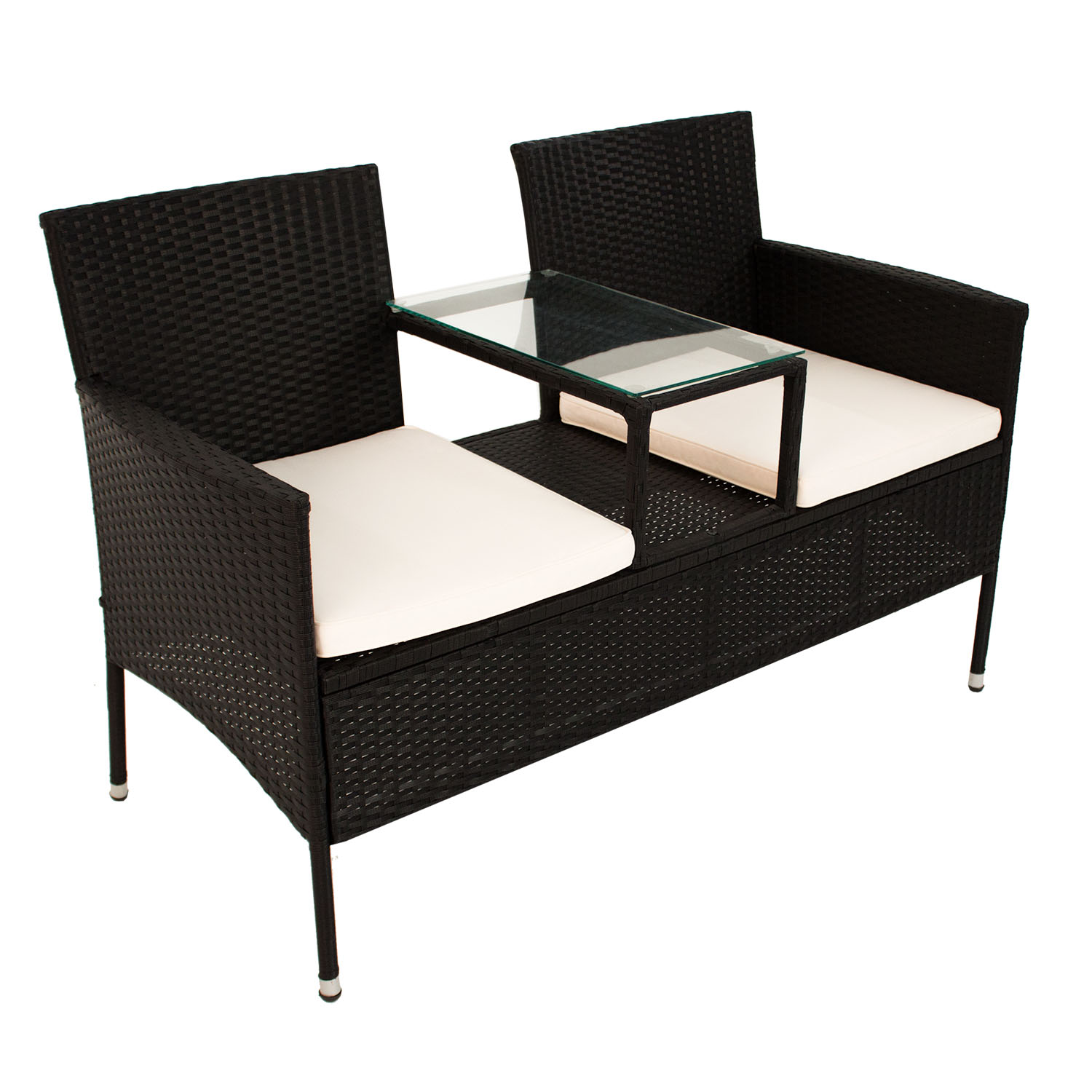 polyrattan gartenm bel gartenbank sitzbank mit tisch sitzgruppe garnitur poly ebay. Black Bedroom Furniture Sets. Home Design Ideas