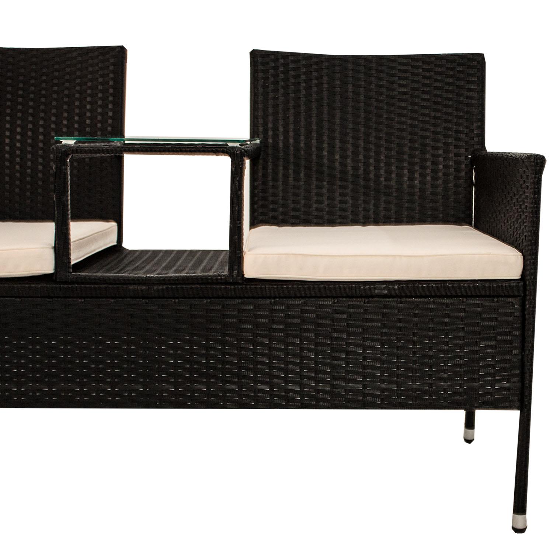 polyrattan gartenm bel gartenbank sitzbank mit tisch sitzgruppe garnitur poly ebay. Black Bedroom Furniture Sets. Home Design Ideas