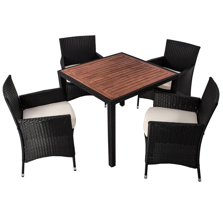 polyrattan gartenm bel sitzgruppe essgruppe gartenset esstischgruppe rattan neu ebay. Black Bedroom Furniture Sets. Home Design Ideas