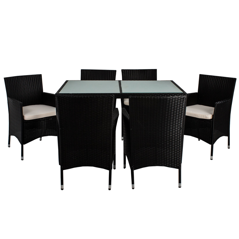 polyrattan essgruppe gartenm bel gartenset rattan esstischgruppe sitzgruppe neu ebay. Black Bedroom Furniture Sets. Home Design Ideas
