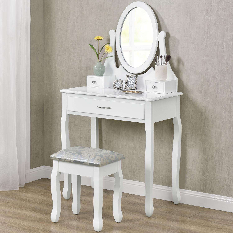 schminktisch hocker kosmetiktisch vintage frisierkommode mit hocker weiss modern ebay. Black Bedroom Furniture Sets. Home Design Ideas
