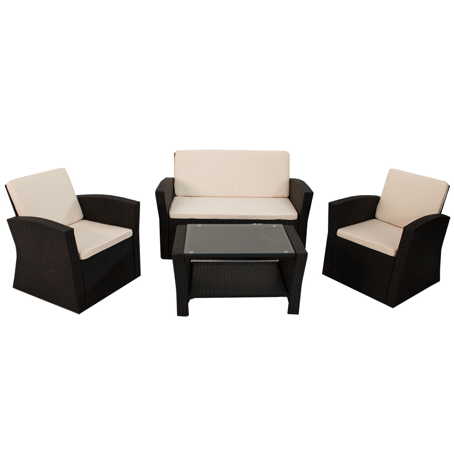 gartenm bel polyrattan lounge gartenset rattan sitzgruppe garnitur palm beach. Black Bedroom Furniture Sets. Home Design Ideas