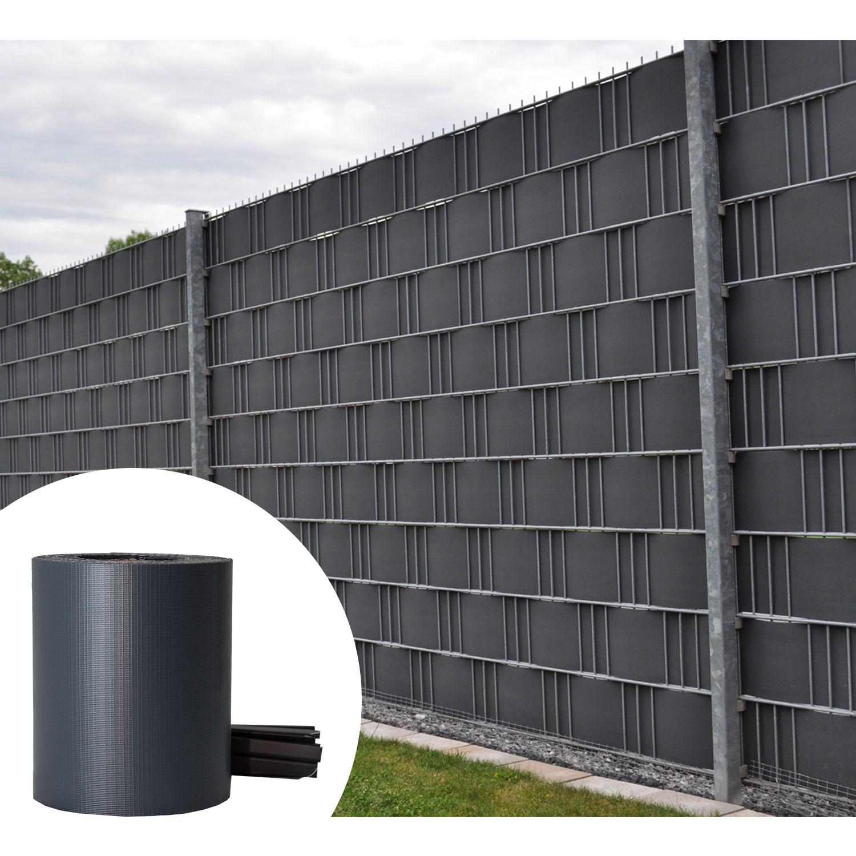 35m pvc zaunfolie sichtschutz doppelstabmatten streifen. Black Bedroom Furniture Sets. Home Design Ideas