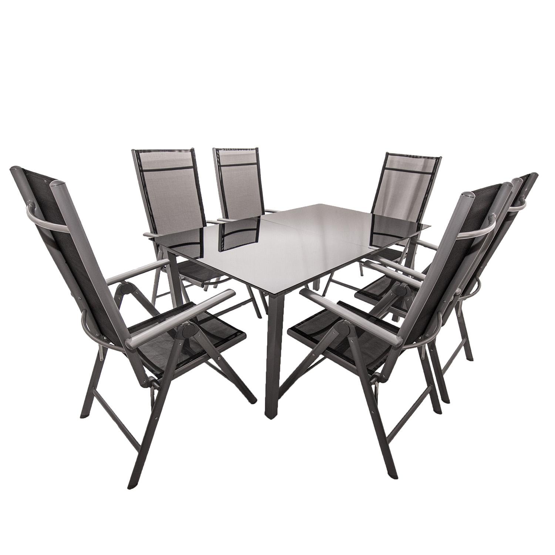 aluminium gartenm bel sitzgruppe gartenset essgruppe alu klappstuhl set glas neu. Black Bedroom Furniture Sets. Home Design Ideas