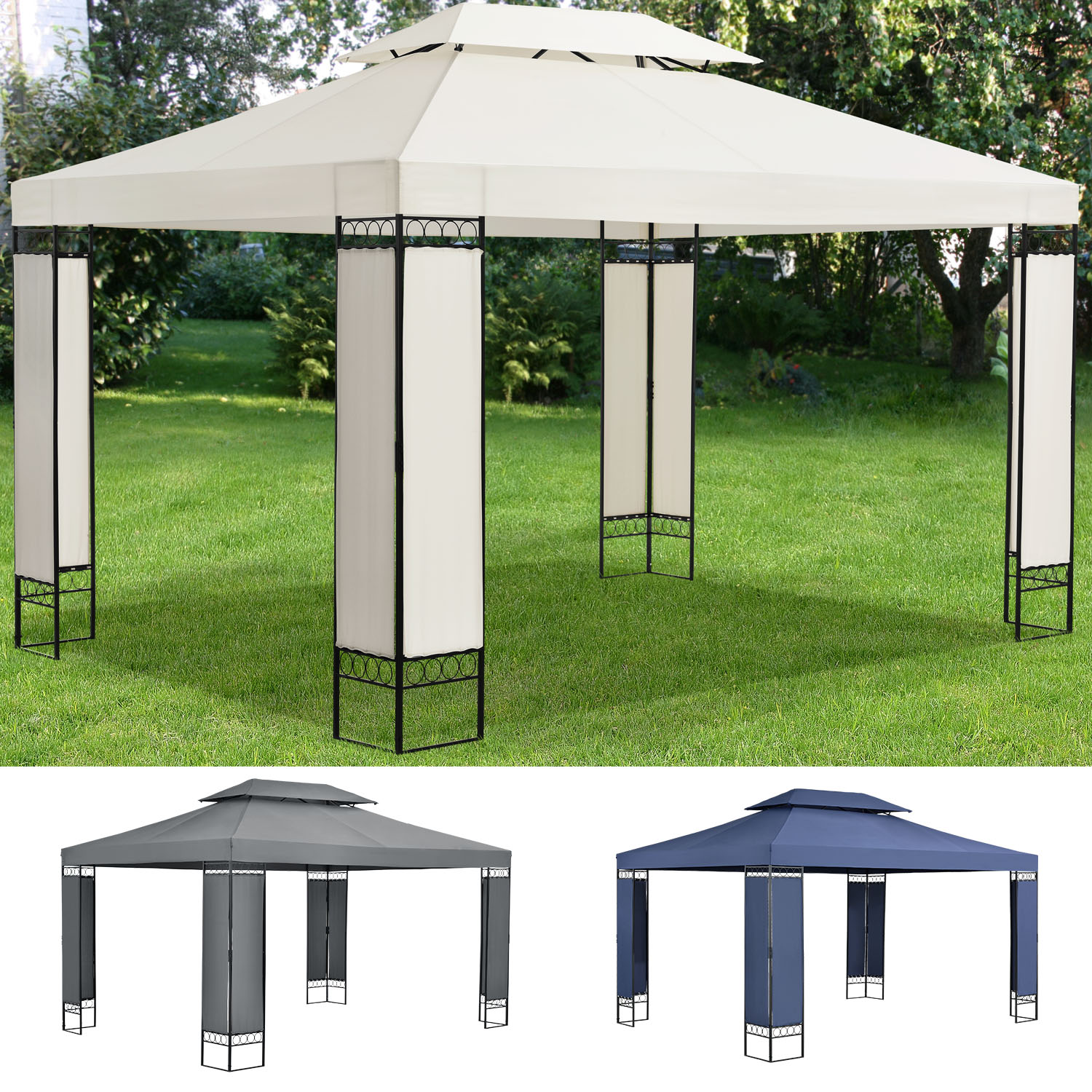 pavillion gartenzelt partyzelt festzelt gartenpavillion gazebo 3x4m metall neu. Black Bedroom Furniture Sets. Home Design Ideas