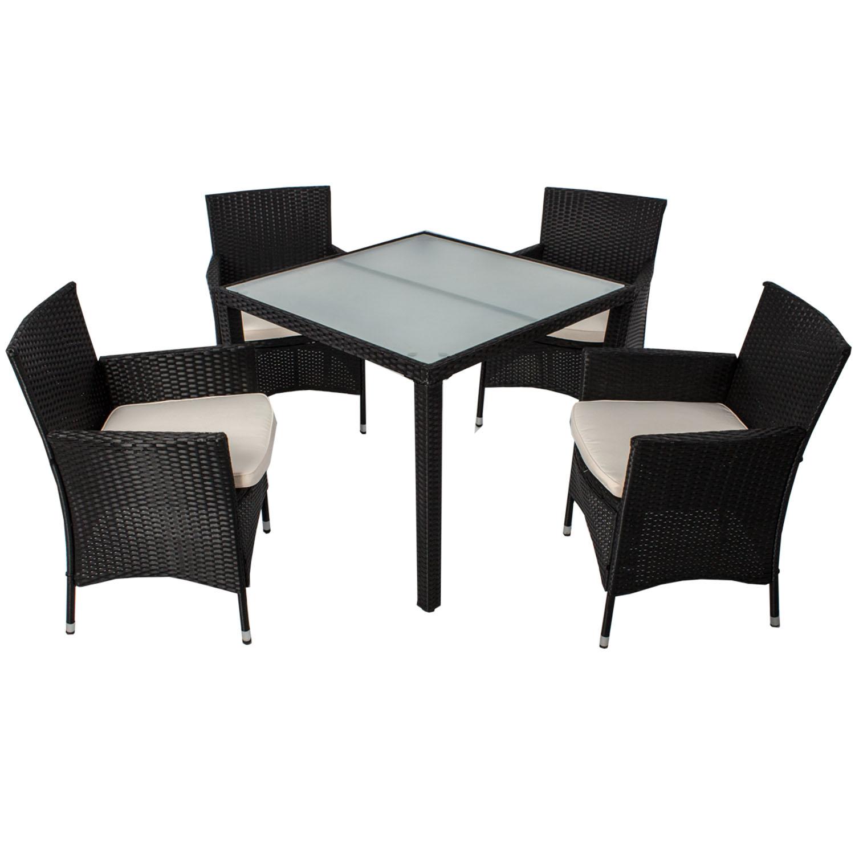 polyrattan gartenm bel essgruppe sitzgruppe glas gartenset. Black Bedroom Furniture Sets. Home Design Ideas