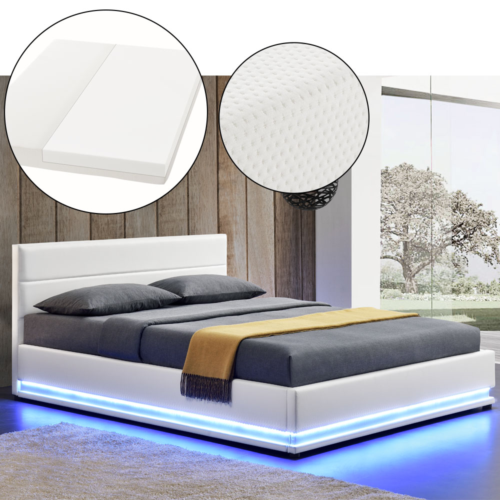 polsterbett kunstlederbett bettkasten mit led bettgestell matratze 140 x 200 cm ebay. Black Bedroom Furniture Sets. Home Design Ideas