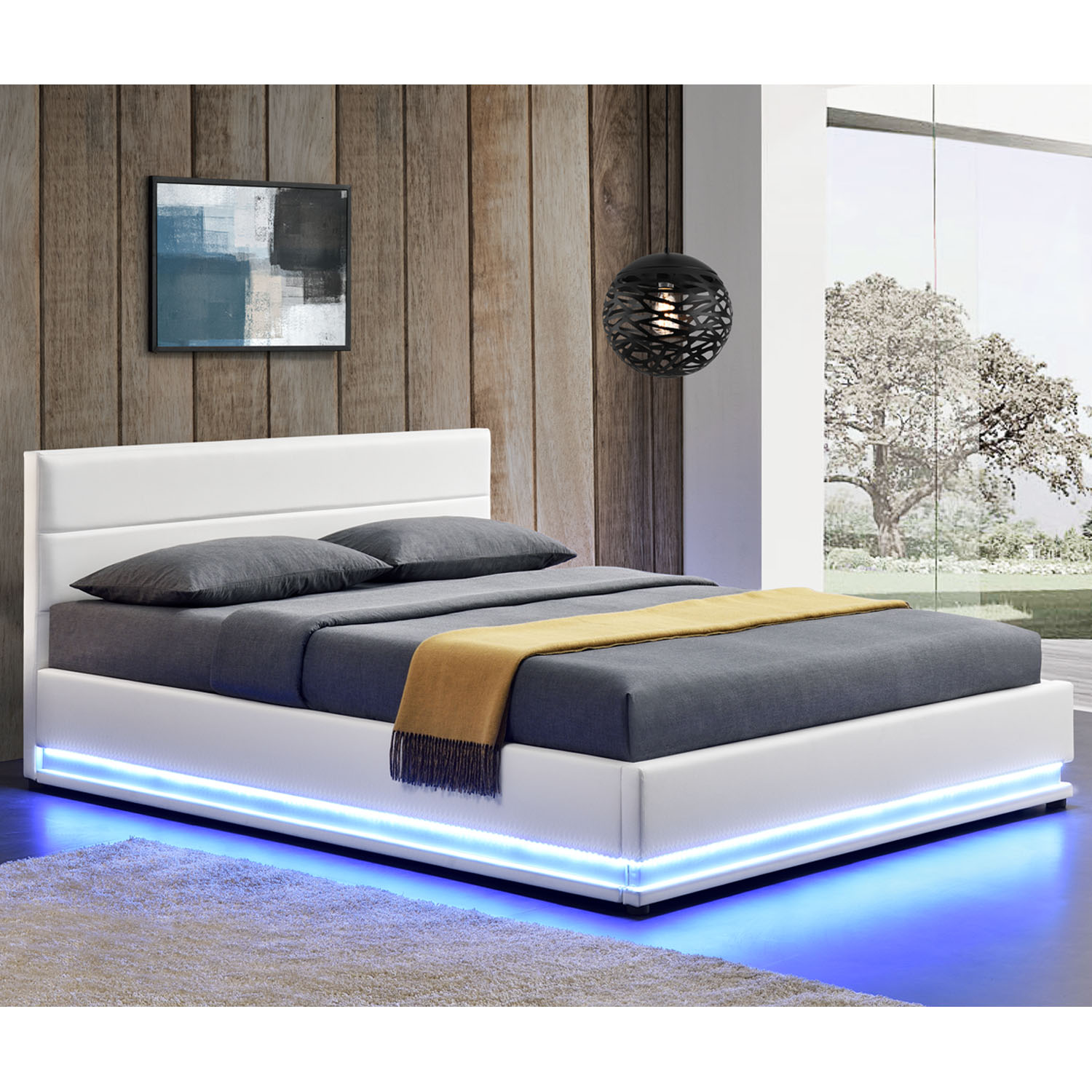 polsterbett kunstlederbett bettkasten mit led bettgestell. Black Bedroom Furniture Sets. Home Design Ideas