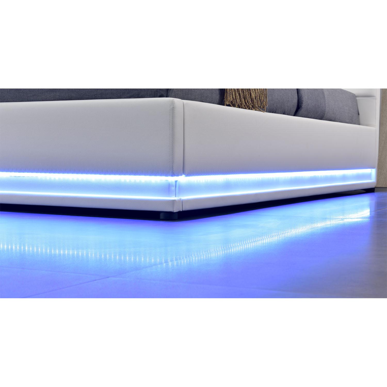 polsterbett kunstlederbett bettkasten mit led bettgestell. Black Bedroom Furniture Sets. Home Design Ideas